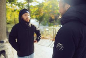 Louis Masai and Tee Byford on 'The Art of Beeing' tour wearing the ECOALF Tasmania Anorak, Image: Tee Byford