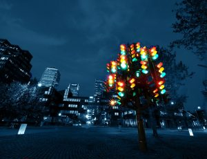 Pierre Vivant's sculpture, 'Traffic Light Tree' in the Docklands, London, Image: William Warby, 2008
